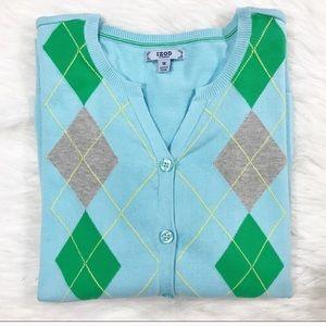 Izod Argyle Cardigan Blue green pink plaid button